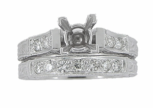 Art Deco Scrolls 3/4 Carat Princess Cut Diamond Engagement Ring Setting and Wedding Ring in 18 Karat White Gold - Click to enlarge