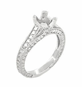 X & O Kisses 1/2 Carat Diamond Engagement Ring Setting in Platinum - Item R1153P50 - Image 1