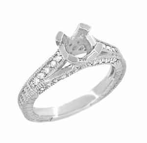 X & O Kisses 1/2 Carat Diamond Engagement Ring Setting in Platinum - Item R1153P50 - Image 2