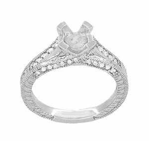 X & O Kisses 1/2 Carat Diamond Engagement Ring Setting in Platinum - Item R1153P50 - Image 3