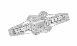 X & O Kisses 1/2 Carat Diamond Engagement Ring Setting in Platinum - Item R1153P50 - Image 4