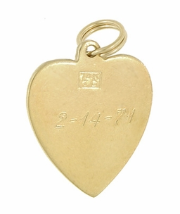 Vintage Heart Pendant set with Pearl in 14 Karat Yellow Gold - Click to enlarge