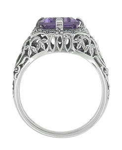 Art Deco Flowers and Leaves Emerald Cut Lilac Amethyst Filigree Ring in Sterling Silver - Click to enlarge