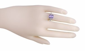 Art Deco Flowers and Leaves Emerald Cut Lilac Amethyst Filigree Ring in Sterling Silver - Item SSR16A - Image 3