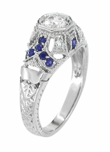 Art Deco Filigree Vintage Inspired Diamond Engagement Ring with Side Sapphires in 14K White Gold - Item R647 - Image 1