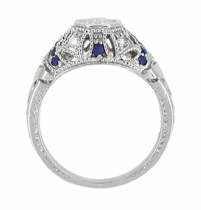Art Deco Diamond and Sapphire Filigree Engagement Ring in 14 Karat White Gold - Item R647 - Image 2