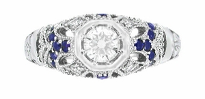 Art Deco Diamond and Sapphire Filigree Engagement Ring in 14 Karat White Gold - Item R647 - Image 3