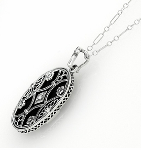 Art Deco Filigree Flowers and Scrolls Black Onyx and Diamond Vintage Filigree Pendant in Sterling Silver - Click to enlarge