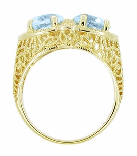 Art Deco Filigree Loving Duo Blue Topaz Ring in 14 Karat Yellow Gold - December Birthstone - Click to enlarge