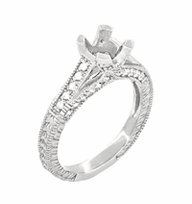 X & O Kisses 1 Carat Diamond Engagement Ring Setting in 18 Karat White Gold - Item R1153W1 - Image 1