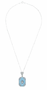 Art Deco Filigree Scrolls Starburst Diamond Set Pendant Necklace in Sterling Silver - Click to enlarge