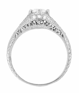 Art Deco Ansonia Filigree Diamond Engagement Ring in Platinum - Item R296 - Image 2
