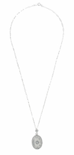 Art Deco Filigree Crystal and Diamond Set Rectangular Pendant Necklace in Sterling Silver - Click to enlarge