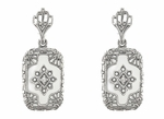 Art Deco Filigree Crystal and Diamond Set Earrings in Sterling Silver