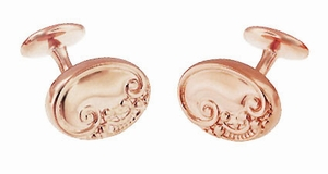 Rose Gold Cufflinks  - Victorian Scrolls and Fleur-de-Lis Engravable Cufflinks in Sterling Silver Vermeil - Item SCL229R - Image 1