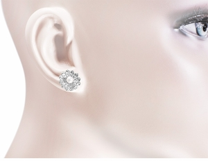 Victorian Pearl Sunflower Earrings in 14 Karat White Gold - Item E121W - Image 1