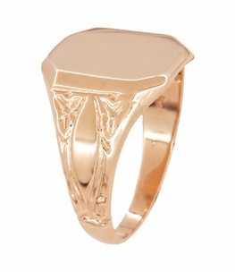 Mens Victorian Rectangular Signet Ring in 14 Karat Rose ( Pink ) Gold - Item MR119R - Image 1