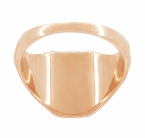 Mens Victorian Rectangular Signet Ring in 14 Karat Rose ( Pink ) Gold - Item MR119R - Image 2