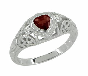 Art Deco Heart Shaped Almandine Garnet and Diamond Filigree Ring in 14 Karat White Gold - Click to enlarge
