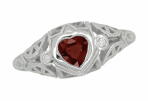 Art Deco Heart Shaped Almandine Garnet and Diamond Filigree Ring in 14 Karat White Gold - Item R1119G - Image 2