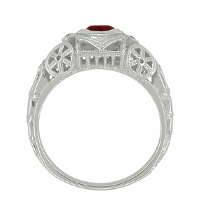 Art Deco Heart Shaped Almandine Garnet and Diamond Filigree Ring in 14 Karat White Gold - Item R1119G - Image 4