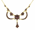 Victorian Bohemian Garnets Teardrop Necklace in Sterling Silver Vermeil