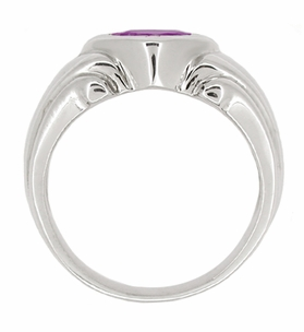 Mens Art Deco Amethyst Ring in 14 Karat White Gold - Item MR121 - Image 1