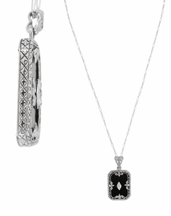 Art Deco Fleur de Lis Filigree Black Onyx and Diamond Pendant Necklace in Sterling Silver - Click to enlarge