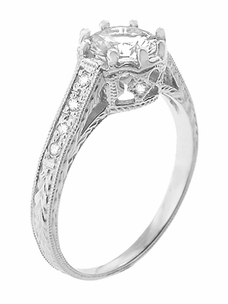 Royal Crown 1/2 Carat Antique Style Engraved Engagement Ring in 18 Karat White Gold - Item R460D - Image 2