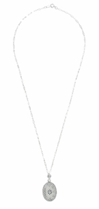 Art Deco Filigree Crystal and Diamond Oval Pendant Necklace in Sterling Silver - Click to enlarge