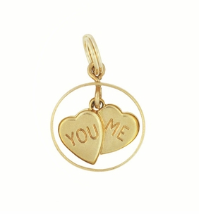 Vintage You and Me Moveable Hearts Charm in 14 Karat Yellow Gold - Click to enlarge