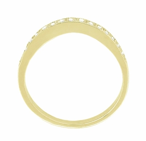 Diamond Set Curved Wedding Band in 14 Karat Yellow Gold - Click to enlarge