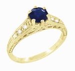 Antique Inspired 14K Yellow Gold Sapphire and Diamond Art Deco Filigree Engagement Ring