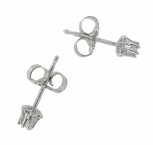Buttercup Diamond Stud Earrings in 14 Karat White Gold - Item E108W - Image 1