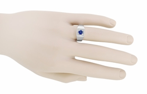 1 Carat Men's Royal Blue Sapphire Ring in 14 Karat White Gold - Item MR102W - Image 2