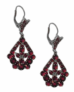 Victorian Bohemian Garnet Leaf Drop Earrings in Antiqued Sterling Silver - Click to enlarge