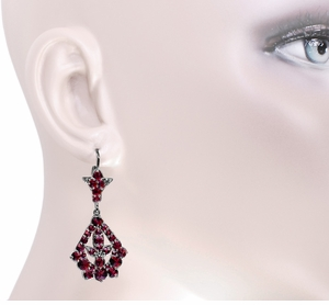 Victorian Bohemian Garnet Leaf Drop Earrings in Antiqued Sterling Silver - Item E139 - Image 2