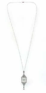 Art Deco Starburst Crystal & Diamond Drop Pendant Necklace in Sterling Silver - Click to enlarge