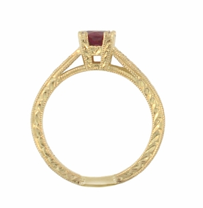 Art Deco Ruby and Diamonds Engraved Engagement Ring in 18 Karat Yellow Gold - Click to enlarge