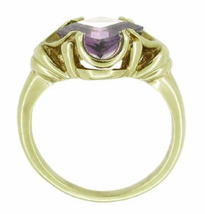 Victorian Square Emerald Cut Lilac Amethyst Ring in 14 Karat Yellow Gold - Click to enlarge