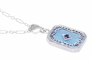 Art Deco Filigree Sky Blue Sun Ray Crystal Pendant Necklace with Sapphire and Diamond in Sterling Silver - Click to enlarge