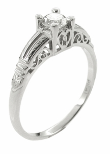 Art Deco Diamond Filigree Engraved Engagement Ring in Platinum - Item R297 - Image 1