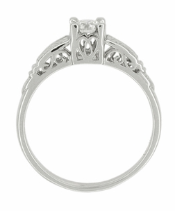 Art Deco Diamond Filigree Engraved Engagement Ring in Platinum - Click to enlarge