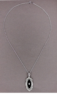 Art Deco Onyx and Diamond Filigree Pendant Necklace in Sterling Silver - Item N105oN - Image 1