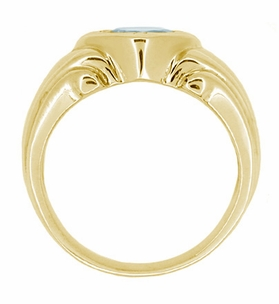 Mens Art Deco Aquamarine Ring in 14 Karat Yellow Gold - Click to enlarge