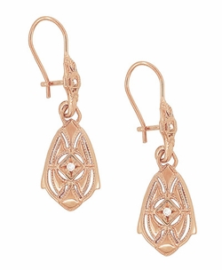 Art Deco Dangling Sterling Silver Diamond Filigree Earrings with Rose Gold Vermeil - Item E178RD - Image 1