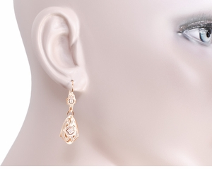 Art Deco Dangling Sterling Silver Diamond Filigree Earrings with Rose Gold Vermeil - Click to enlarge