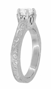 Art Deco Crown Filigree Scrolls Engraved White Sapphire Engagement Ring in 18 Karat White Gold - Click to enlarge