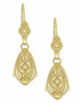 Art Deco Dangling Sterling Silver Diamond Filigree Earrings with Yellow Gold Vermeil