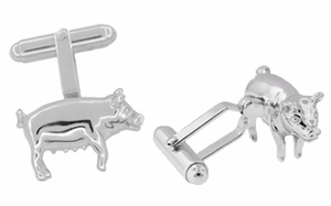 Pig Cufflinks in Sterling Silver - Click to enlarge